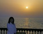 ●黄砂に煙る太陽が宍道湖に沈む●.jpg